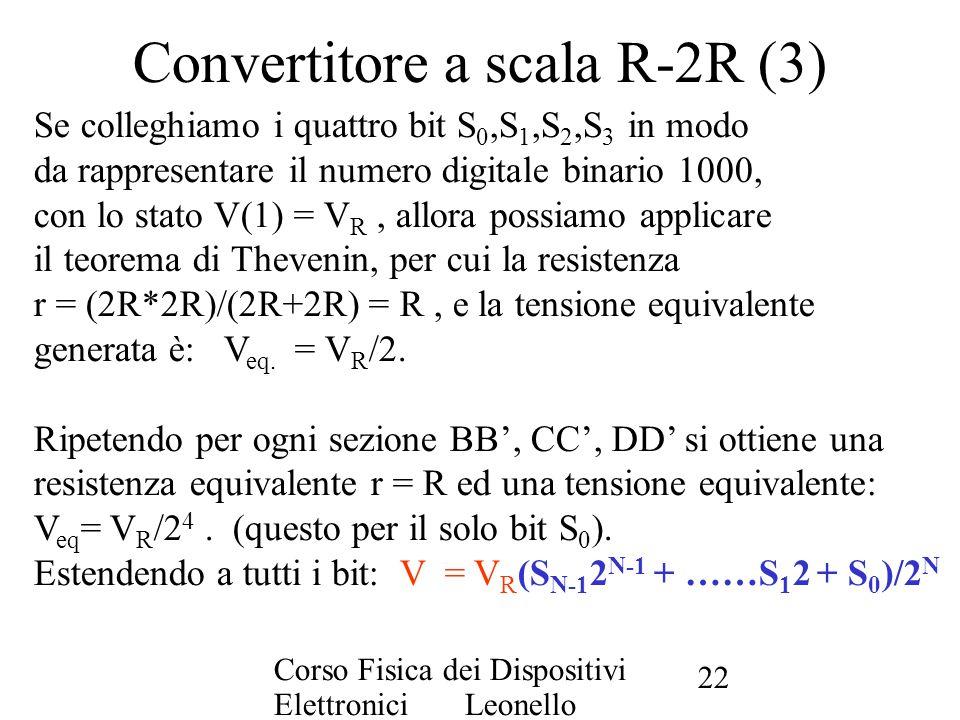 Corso Fisica dei Dispositivi Elettronici Leonello Servoli 22 Convertitore a scala R-2R (3) Se colleghiamo i quattro bit S 0,S 1,S 2,S 3 in modo da rap