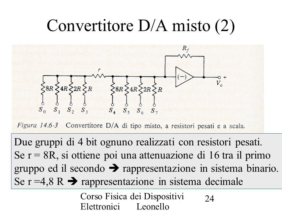 Corso Fisica dei Dispositivi Elettronici Leonello Servoli 24 Convertitore D/A misto (2) Due gruppi di 4 bit ognuno realizzati con resistori pesati. Se
