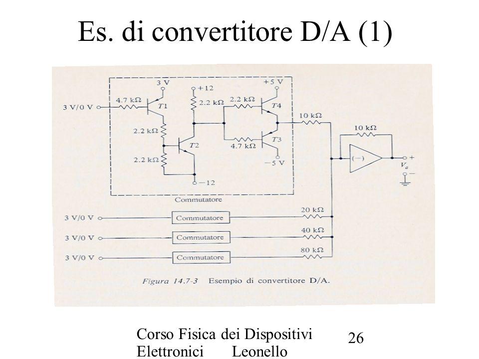 Corso Fisica dei Dispositivi Elettronici Leonello Servoli 26 Es. di convertitore D/A (1)