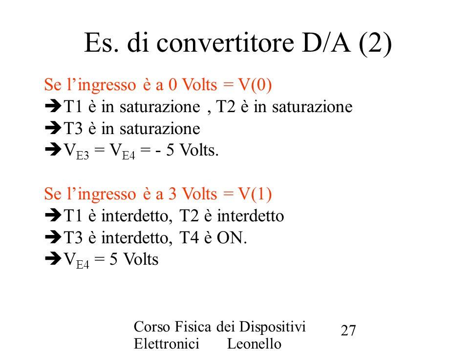 Corso Fisica dei Dispositivi Elettronici Leonello Servoli 27 Es. di convertitore D/A (2) Se lingresso è a 0 Volts = V(0) T1 è in saturazione, T2 è in