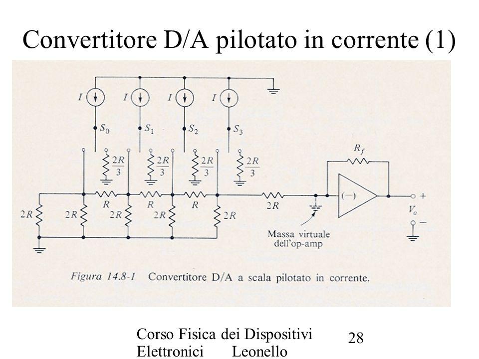 Corso Fisica dei Dispositivi Elettronici Leonello Servoli 28 Convertitore D/A pilotato in corrente (1)
