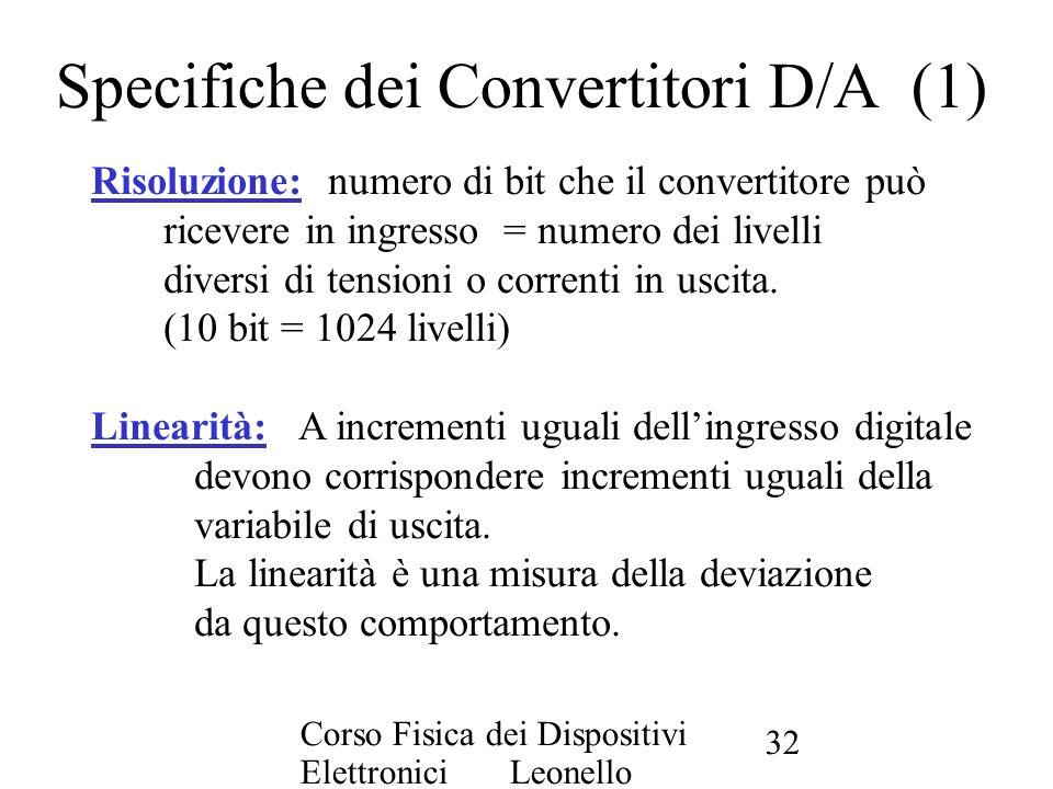 Corso Fisica dei Dispositivi Elettronici Leonello Servoli 32 Specifiche dei Convertitori D/A (1) Risoluzione: numero di bit che il convertitore può ri
