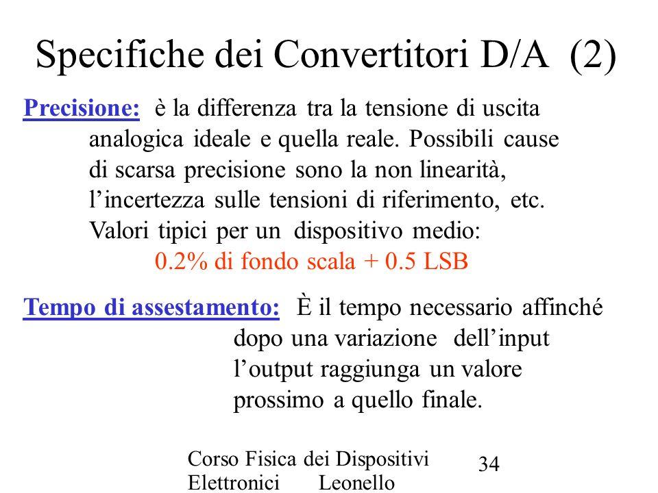 Corso Fisica dei Dispositivi Elettronici Leonello Servoli 34 Specifiche dei Convertitori D/A (2) Precisione:è la differenza tra la tensione di uscita