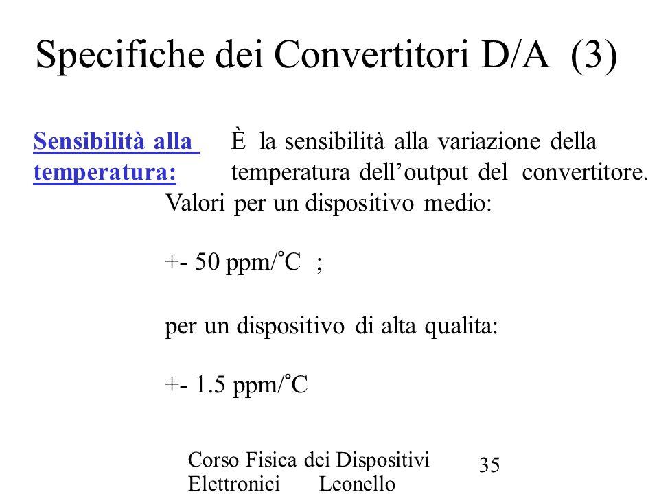 Corso Fisica dei Dispositivi Elettronici Leonello Servoli 35 Specifiche dei Convertitori D/A (3) Sensibilità alla È la sensibilità alla variazione del