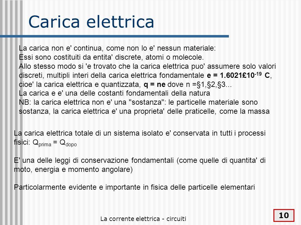 La corrente elettrica - circuiti 10 Carica elettrica La carica non e' continua, come non lo e' nessun materiale: Essi sono costituiti da entita' discr