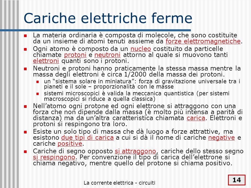 La corrente elettrica - circuiti 14 Cariche elettriche ferme La materia ordinaria è composta di molecole, che sono costituite da un insieme di atomi t