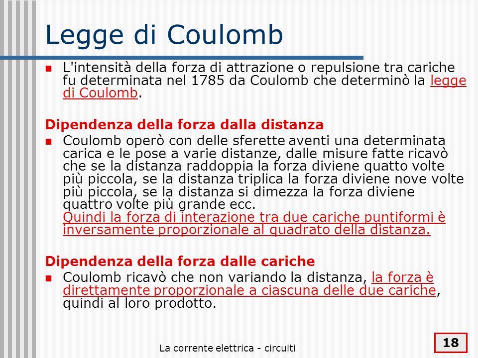 La corrente elettrica - circuiti 18 Legge di Coulomb L'intensità della forza di attrazione o repulsione tra cariche fu determinata nel 1785 da Coulomb