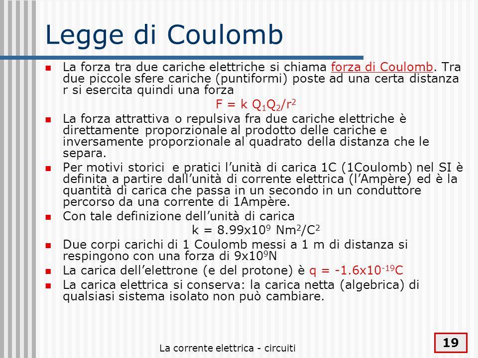 La corrente elettrica - circuiti 19 Legge di Coulomb La forza tra due cariche elettriche si chiama forza di Coulomb. Tra due piccole sfere cariche (pu