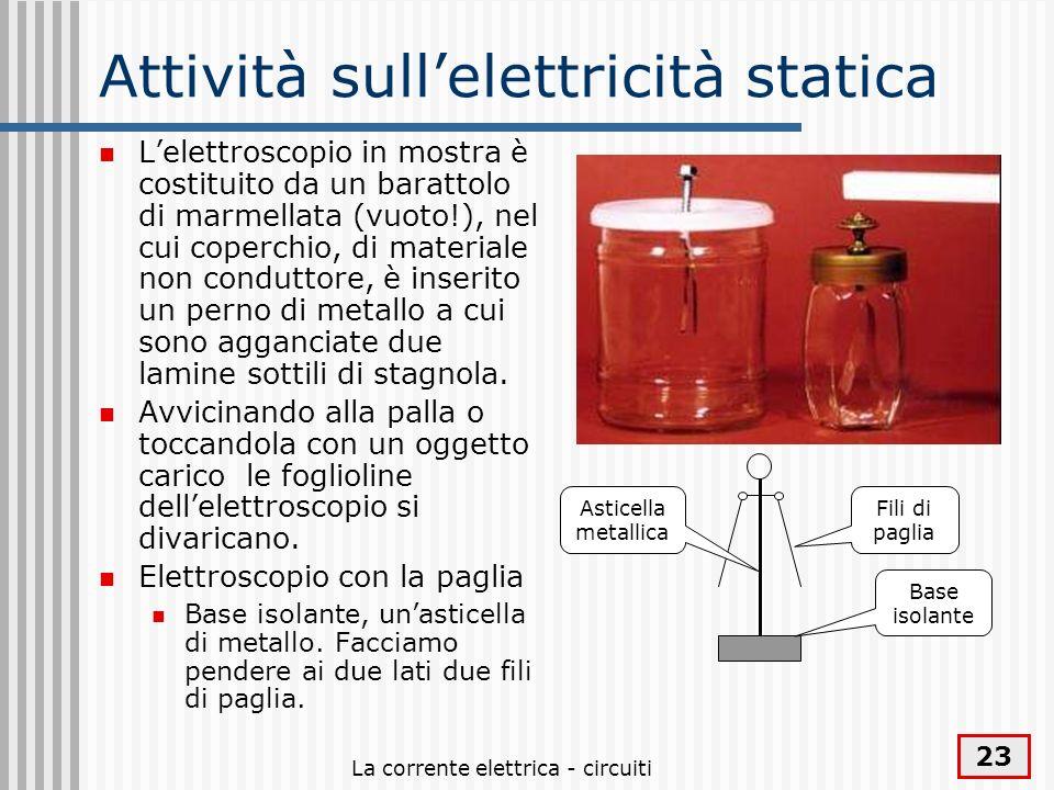 La corrente elettrica - circuiti 23 Attività sullelettricità statica Lelettroscopio in mostra è costituito da un barattolo di marmellata (vuoto!), nel