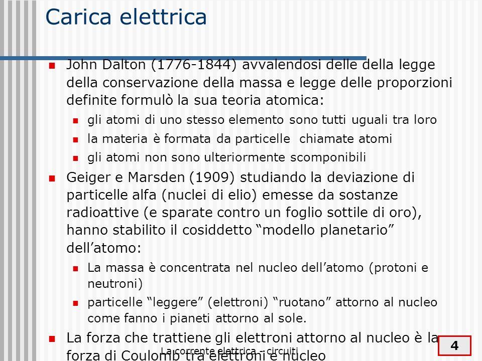 La corrente elettrica - circuiti 4 Carica elettrica John Dalton (1776-1844) avvalendosi delle della legge della conservazione della massa e legge dell