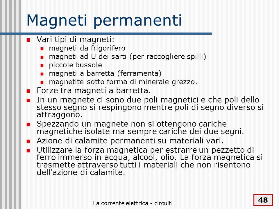 La corrente elettrica - circuiti 48 Magneti permanenti Vari tipi di magneti: magneti da frigorifero magneti ad U dei sarti (per raccogliere spilli) pi