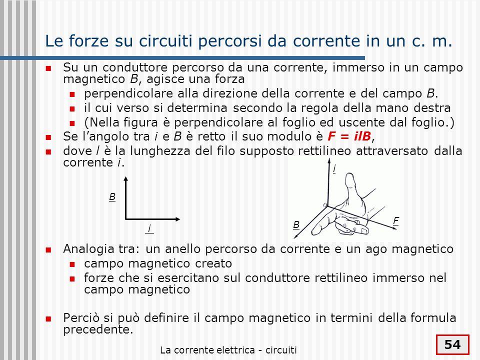 La corrente elettrica - circuiti 54 Le forze su circuiti percorsi da corrente in un c. m. Su un conduttore percorso da una corrente, immerso in un cam