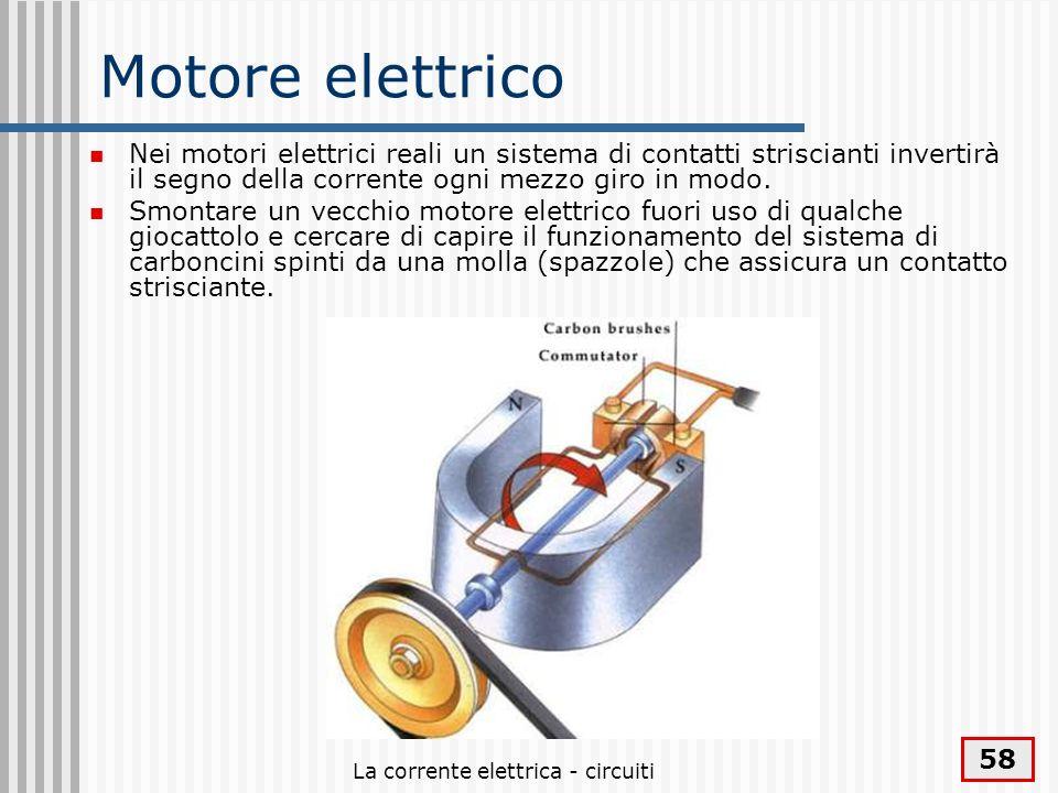 La corrente elettrica - circuiti 58 Motore elettrico Nei motori elettrici reali un sistema di contatti striscianti invertirà il segno della corrente o