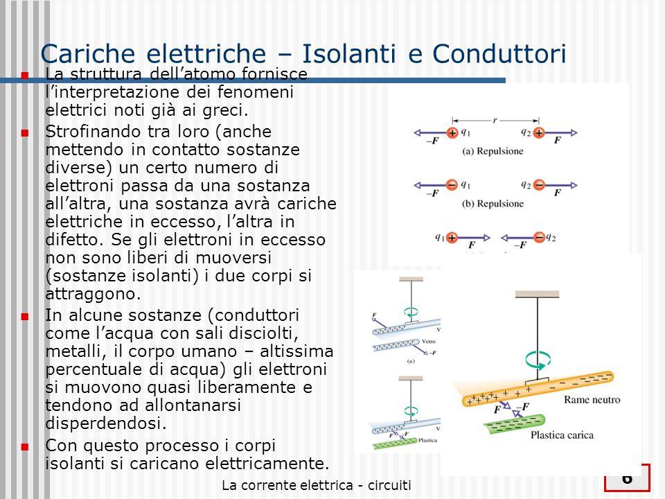 La corrente elettrica - circuiti 6 Cariche elettriche – Isolanti e Conduttori La struttura dellatomo fornisce linterpretazione dei fenomeni elettrici