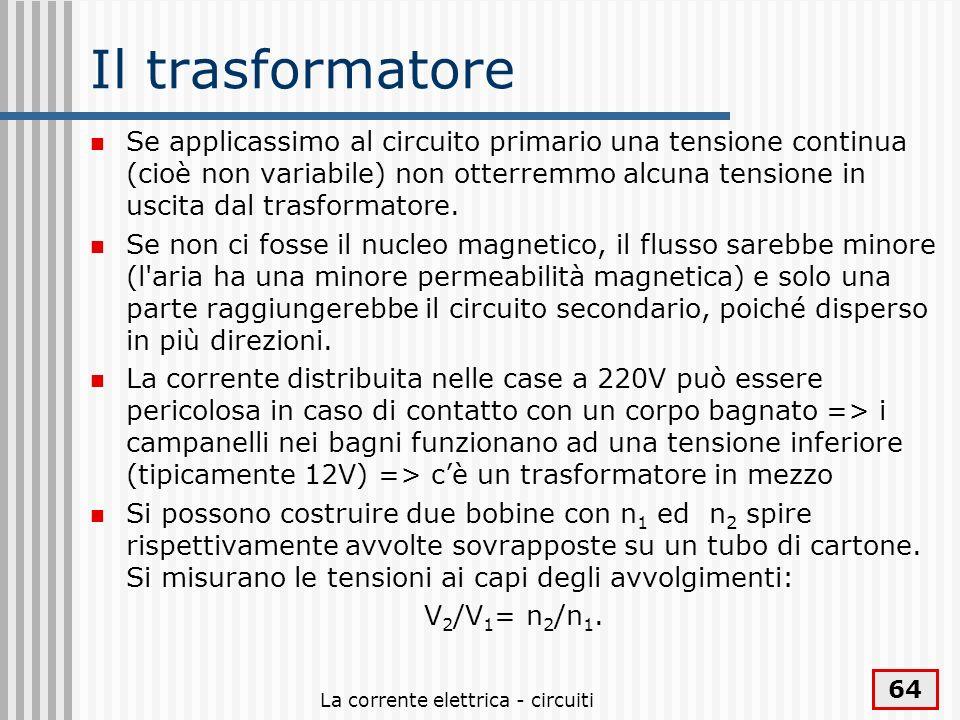 La corrente elettrica - circuiti 64 Il trasformatore Se applicassimo al circuito primario una tensione continua (cioè non variabile) non otterremmo al