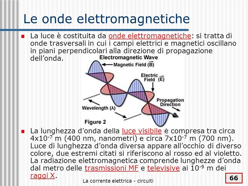 La corrente elettrica - circuiti 66 Le onde elettromagnetiche La luce è costituita da onde elettromagnetiche: si tratta di onde trasversali in cui i c