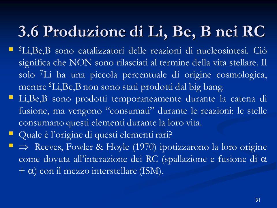 31 3.6 Produzione di Li, Be, B nei RC 6 Li,Be,B sono catalizzatori delle reazioni di nucleosintesi. Ciò significa che NON sono rilasciati al termine d