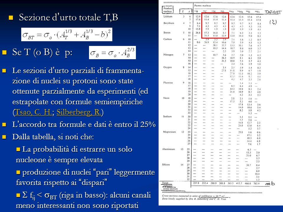 39 Sezione d urto totale T,B Sezione d urto totale T,B Se T (o B) è p: Se T (o B) è p: Le sezioni d urto parziali di frammenta- zione di nuclei su pro
