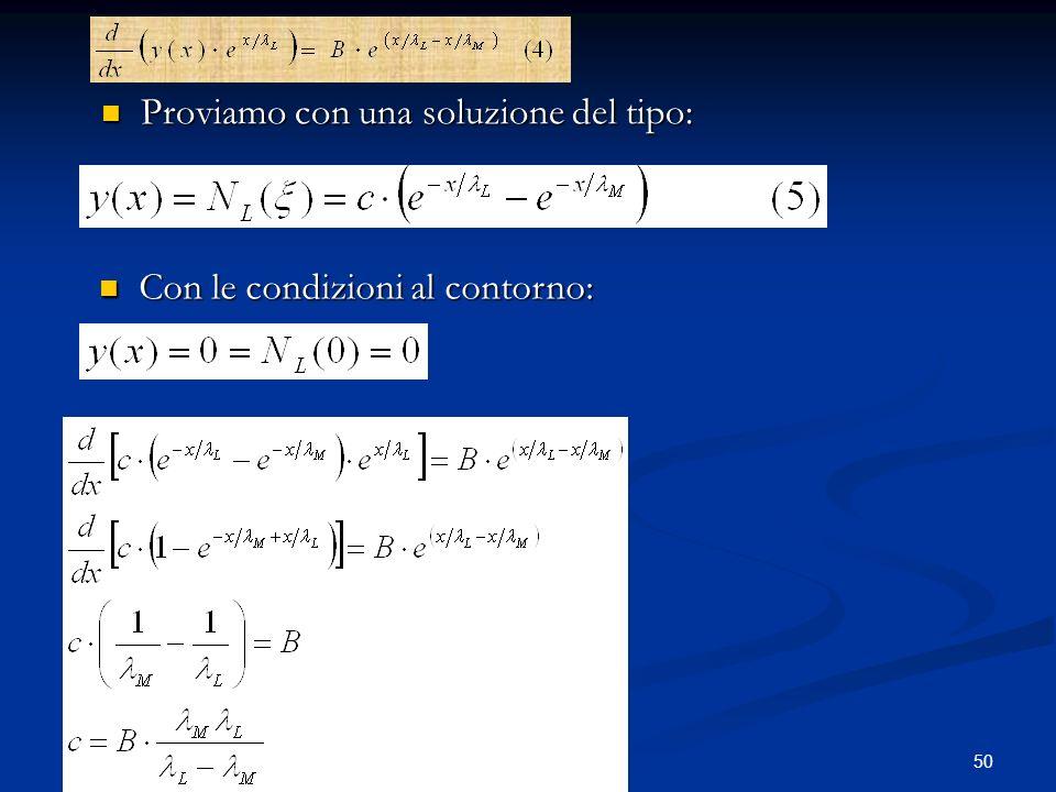 50 Proviamo con una soluzione del tipo: Proviamo con una soluzione del tipo: Con le condizioni al contorno: Con le condizioni al contorno: