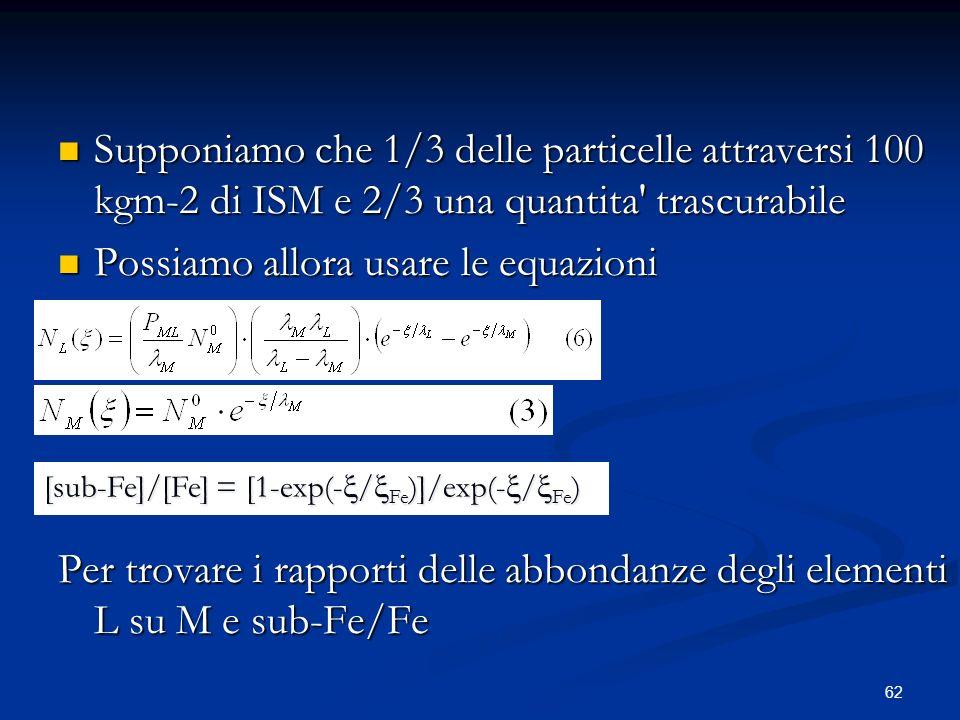 62 Supponiamo che 1/3 delle particelle attraversi 100 kgm-2 di ISM e 2/3 una quantita' trascurabile Supponiamo che 1/3 delle particelle attraversi 100