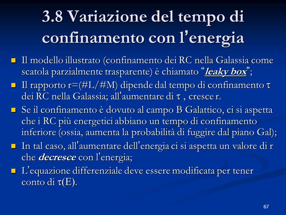 67 3.8 Variazione del tempo di confinamento con l energia Il modello illustrato (confinamento dei RC nella Galassia come scatola parzialmente traspare