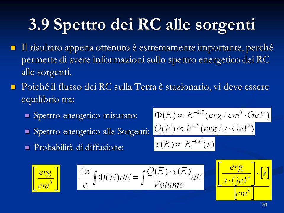 70 3.9 Spettro dei RC alle sorgenti Il risultato appena ottenuto è estremamente importante, perché permette di avere informazioni sullo spettro energe