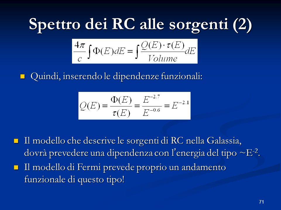 71 Spettro dei RC alle sorgenti (2) Quindi, inserendo le dipendenze funzionali: Quindi, inserendo le dipendenze funzionali: Il modello che descrive le