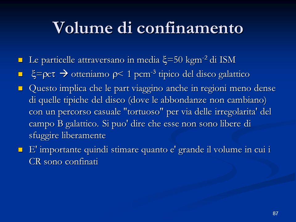 87 Volume di confinamento Le particelle attraversano in media =50 kgm -2 di ISM Le particelle attraversano in media =50 kgm -2 di ISM = c otteniamo <