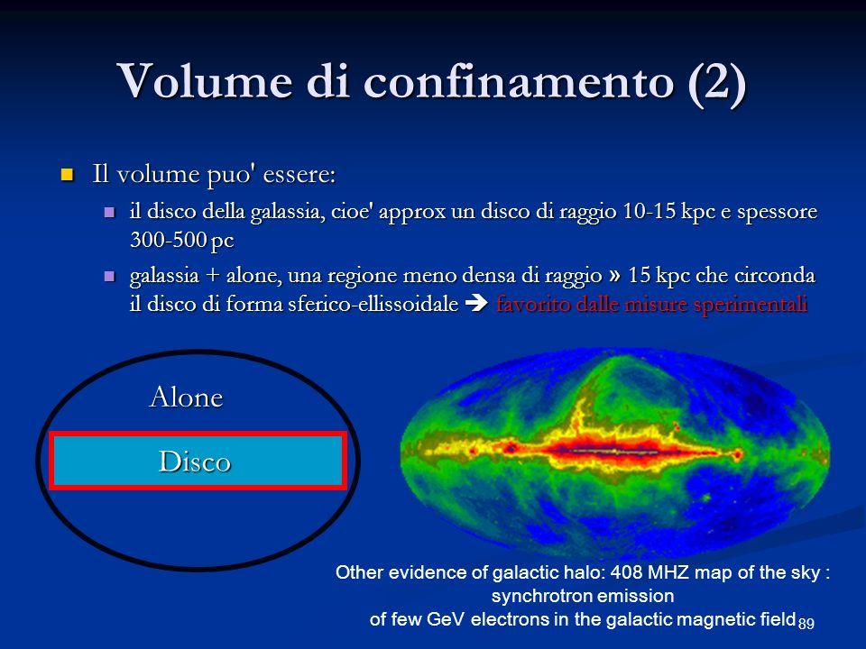 89 Volume di confinamento (2) Il volume puo' essere: Il volume puo' essere: il disco della galassia, cioe' approx un disco di raggio 10-15 kpc e spess