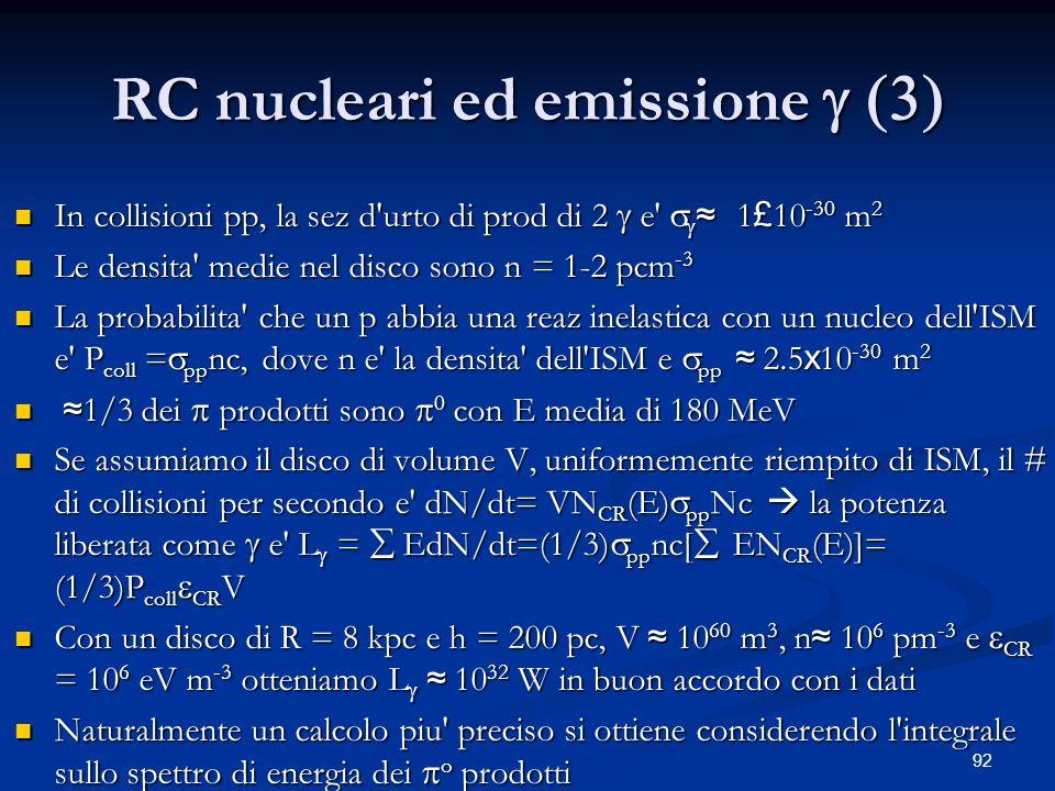 92 RC nucleari ed emissione In collisioni pp, la sez d'urto di prod di 2 e' 1 £ 10 -30 m 2 In collisioni pp, la sez d'urto di prod di 2 e' 1 £ 10 -30