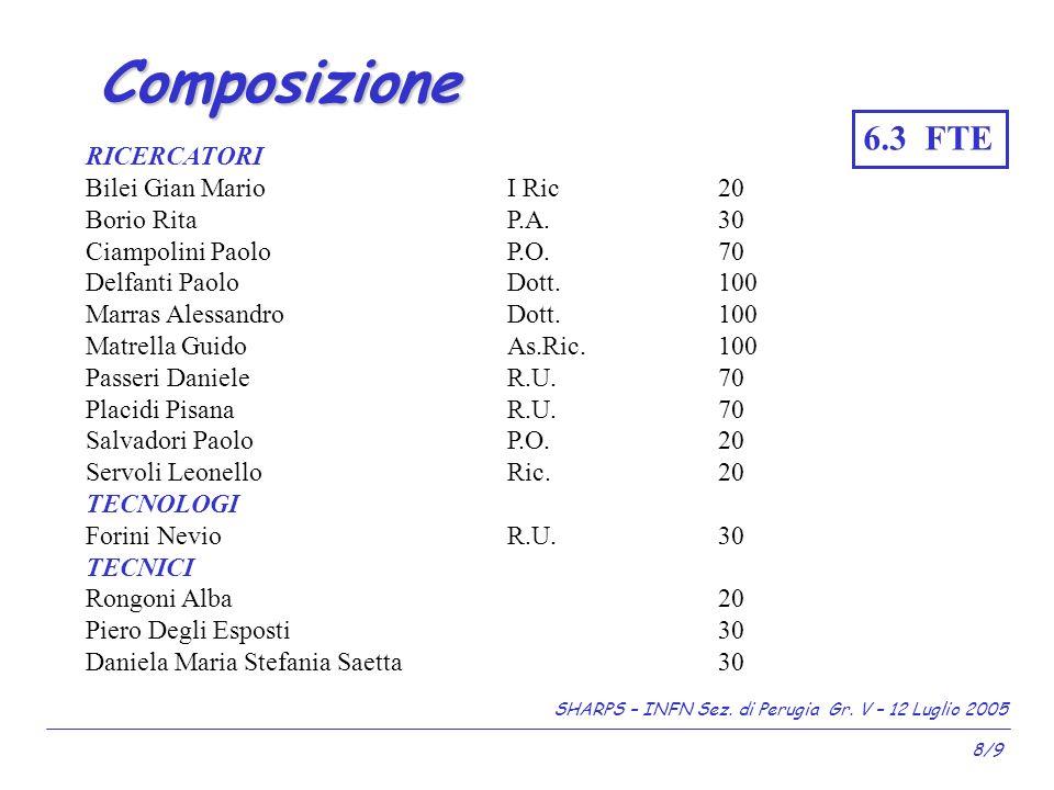 SHARPS – INFN Sez. di Perugia Gr. V – 12 Luglio 2005 8/9 Composizione del gruppo di ricerca.