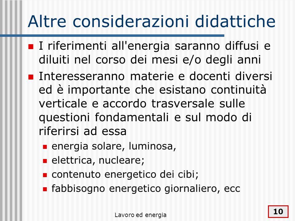 Lavoro ed energia 10 Altre considerazioni didattiche I riferimenti all'energia saranno diffusi e diluiti nel corso dei mesi e/o degli anni Interessera