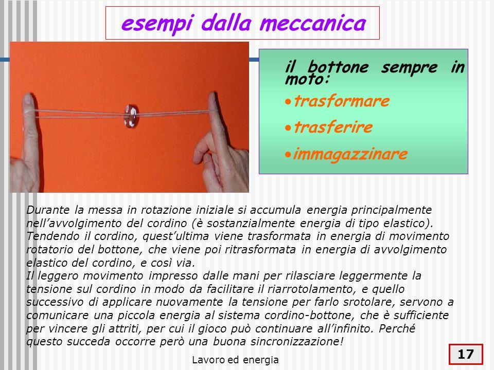 Lavoro ed energia 17 esempi dalla meccanica il bottone sempre in moto: trasformare trasferire immagazzinare Durante la messa in rotazione iniziale si
