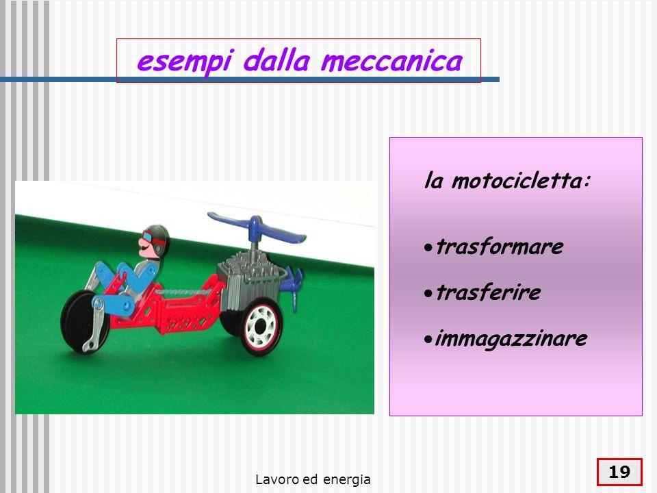 Lavoro ed energia 19 esempi dalla meccanica la motocicletta: trasformare trasferire immagazzinare