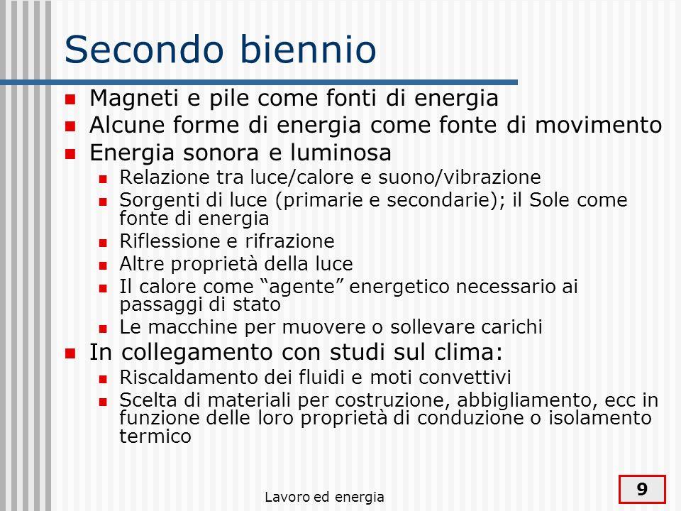 Lavoro ed energia 9 Secondo biennio Magneti e pile come fonti di energia Alcune forme di energia come fonte di movimento Energia sonora e luminosa Rel