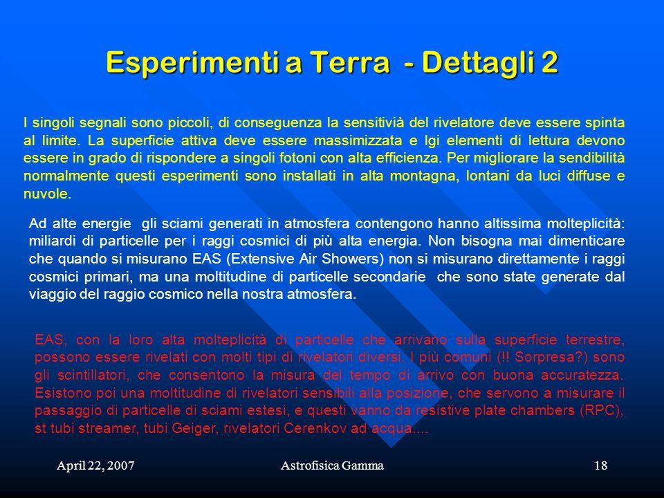 April 22, 2007Astrofisica Gamma18 Esperimenti a Terra - Dettagli 2 I singoli segnali sono piccoli, di conseguenza la sensitivià del rivelatore deve es