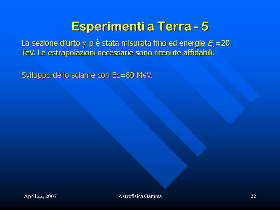 April 22, 2007Astrofisica Gamma22 Esperimenti a Terra - 5 La sezione durto -p è stata misurata fino ed energie E =20 TeV. Le estrapolazioni necessarie