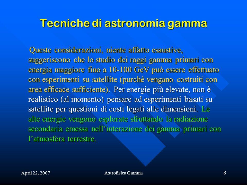 April 22, 2007Astrofisica Gamma6 Tecniche di astronomia gamma Queste considerazioni, niente affatto esaustive, suggeriscono che lo studio dei raggi ga