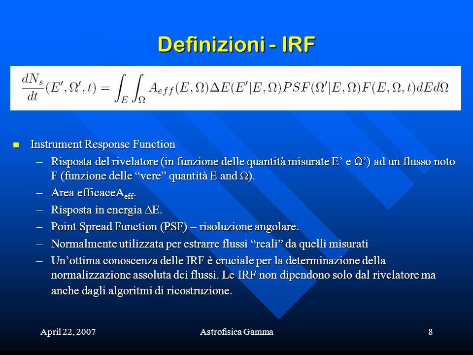 April 22, 2007Astrofisica Gamma8 Definizioni - IRF Instrument Response Function Instrument Response Function –Risposta del rivelatore (in funzione del