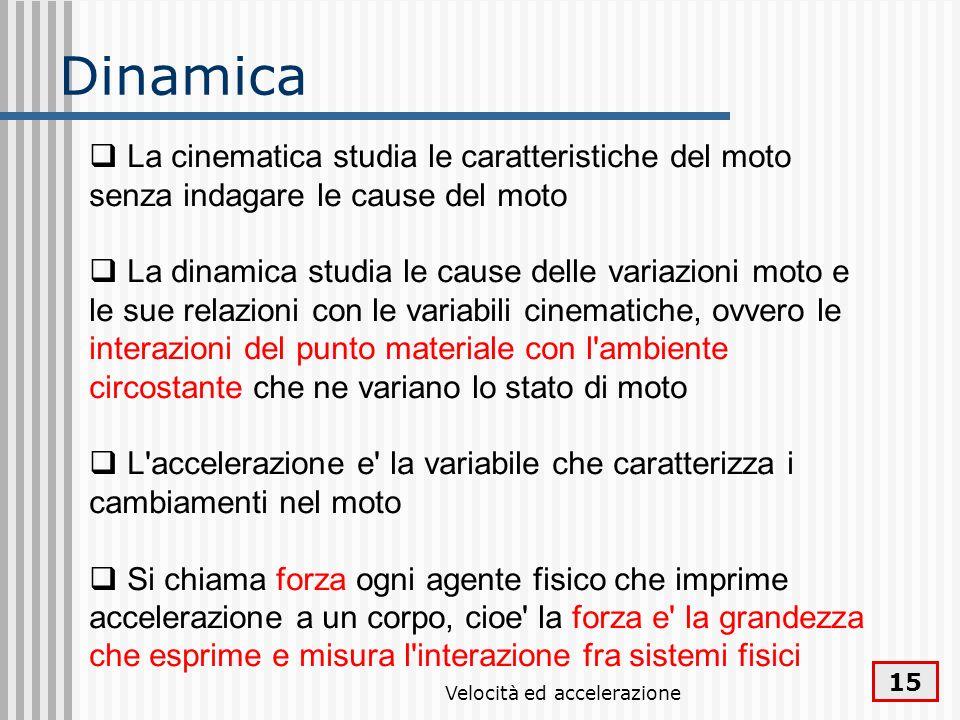 Velocità ed accelerazione 15 Dinamica La cinematica studia le caratteristiche del moto senza indagare le cause del moto La dinamica studia le cause de