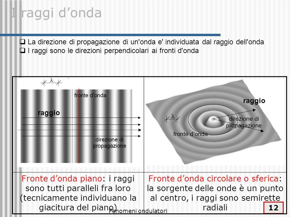 Fenomeni ondulatori 13 Se la velocità dellonda è la stessa in tutte le direzioni, il fronte donda coincide con il luogo geometrico dei punti equidistanti dalla sorgente e raggiunti dallonda stessa all istante considerato.