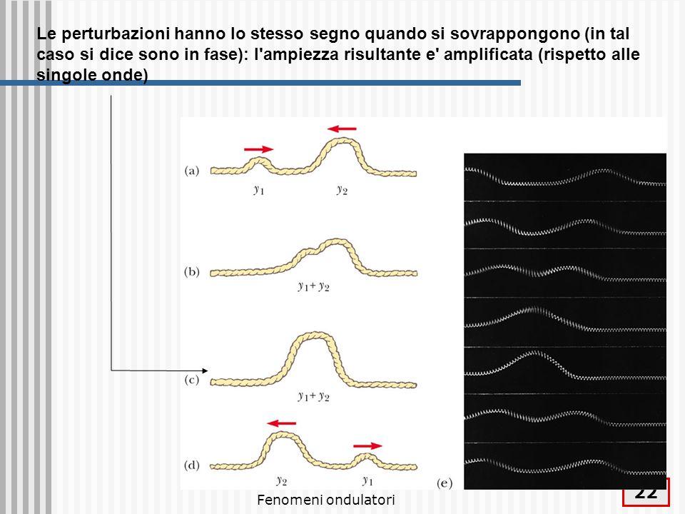 Fenomeni ondulatori 23 La perturbazioni hanno segno opposto quando si sovrappongono (in tal caso si dice sono in opposizione di fase): l ampiezza risultante e diminuita (rispetto alle singole onde)