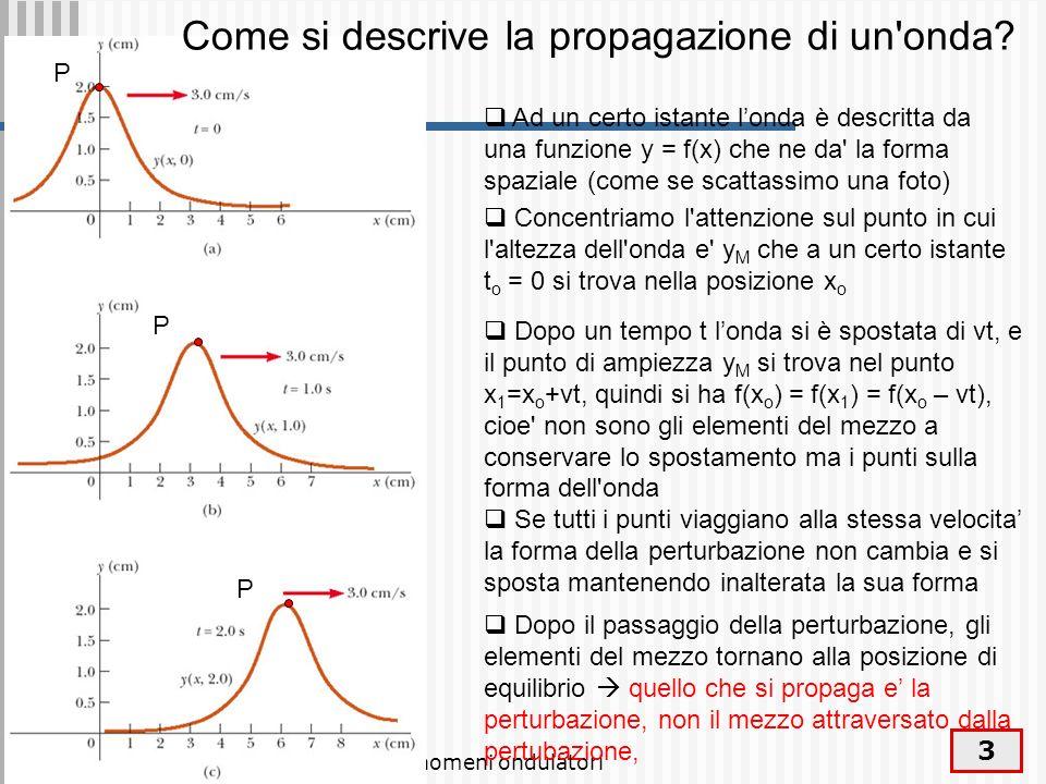 Fenomeni ondulatori 4 A meno di effetti di distorsione limpulso si propaga rigidamente: la forma resta invariata y = f (x) a t=0.