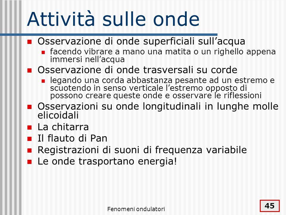 Fenomeni ondulatori 46 Fonti Halliday, Resnick, Fondamenti di Fisica, Masson, 1996 Sette, Lezioni di fisica