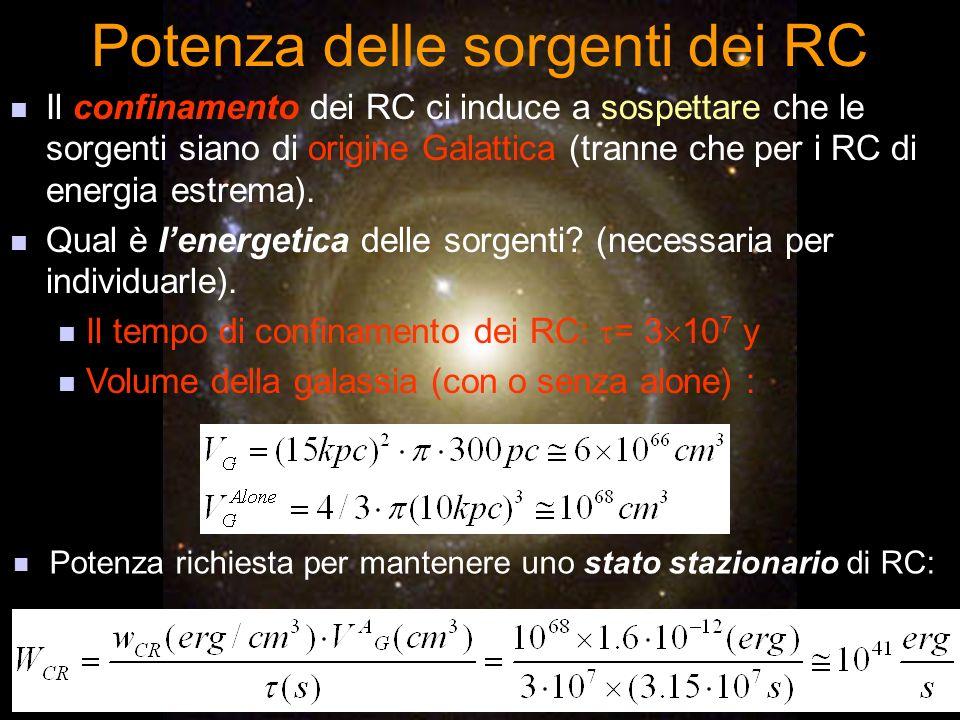 Potenza delle sorgenti dei RC Il confinamento dei RC ci induce a sospettare che le sorgenti siano di origine Galattica (tranne che per i RC di energia