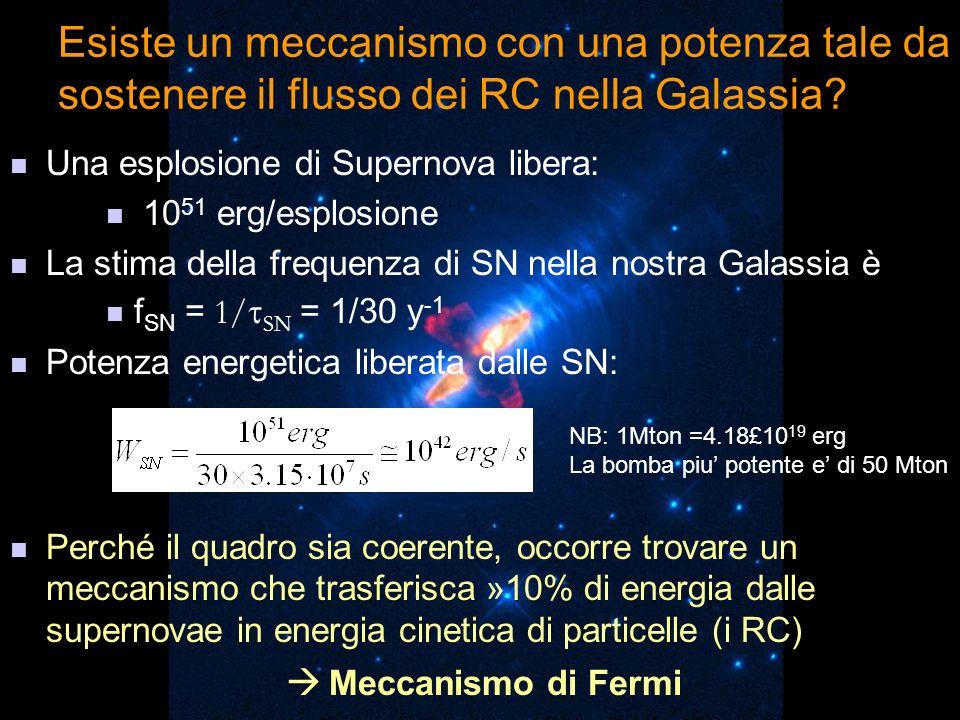 Esiste un meccanismo con una potenza tale da sostenere il flusso dei RC nella Galassia? Una esplosione di Supernova libera: 10 51 erg/esplosione La st