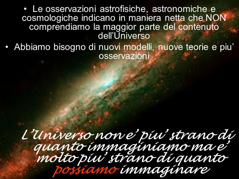 Le osservazioni astrofisiche, astronomiche e cosmologiche indicano in maniera netta che NON comprendiamo la maggior parte del contenuto dellUniverso A