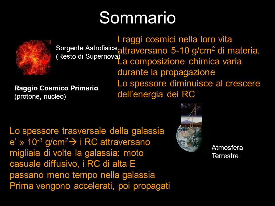 Sommario Sorgente Astrofisica (Resto di Supernova) Raggio Cosmico Primario (protone, nucleo) Atmosfera Terrestre I raggi cosmici nella loro vita attra