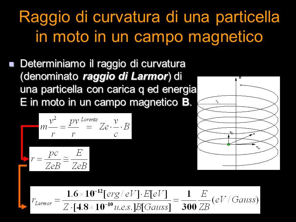 Raggio di curvatura di una particella in moto in un campo magnetico Determiniamo il raggio di curvatura (denominato raggio di Larmor) di una particell