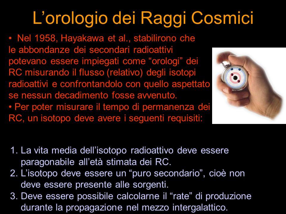 Nel 1958, Hayakawa et al., stabilirono che le abbondanze dei secondari radioattivi potevano essere impiegati come orologi dei RC misurando il flusso (